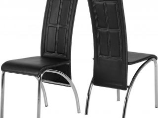 A3 Chair in Black Faux Leather/Chrome