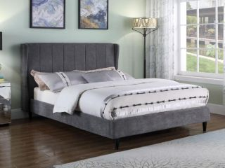 Amelia 5ft King Size Dark Grey Fabric Bed Frame.