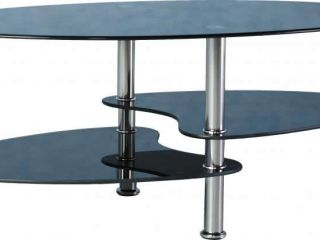 Cara Coffee Table in Black Glass/Silver